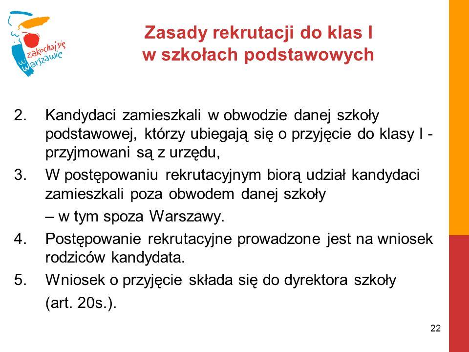 Zasady rekrutacji do klas I w szkołach podstawowych 2.Kandydaci zamieszkali w obwodzie danej szkoły podstawowej, którzy ubiegają się o przyjęcie do klasy I - przyjmowani są z urzędu, 3.W postępowaniu rekrutacyjnym biorą udział kandydaci zamieszkali poza obwodem danej szkoły – w tym spoza Warszawy.