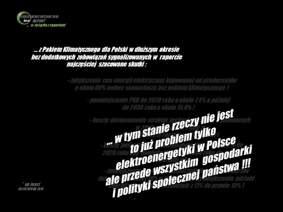 * IEA PARYŻ 09 LISTOPADA 2010 … w związku z raportem* iea WORLD ENERGY OUTLOOK 2010 RAPORT* … z Pakietu Klimatycznego dla Polski w dłuższym okresie be