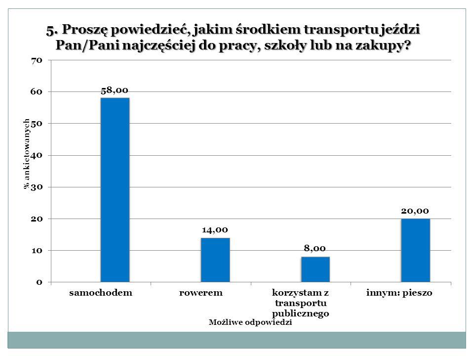 5. Proszę powiedzieć, jakim środkiem transportu jeździ Pan/Pani najczęściej do pracy, szkoły lub na zakupy?
