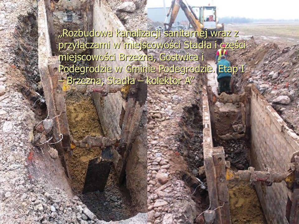 """""""Rozbudowa kanalizacji sanitarnej wraz z przyłączami w miejscowości Stadła i części miejscowości Brzezna, Gostwica i Podegrodzie w Gminie Podegrodzie."""