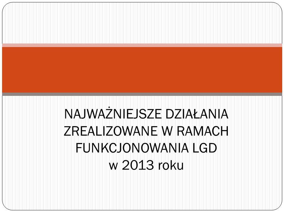 NAJWAŻNIEJSZE DZIAŁANIA ZREALIZOWANE W RAMACH FUNKCJONOWANIA LGD w 2013 roku