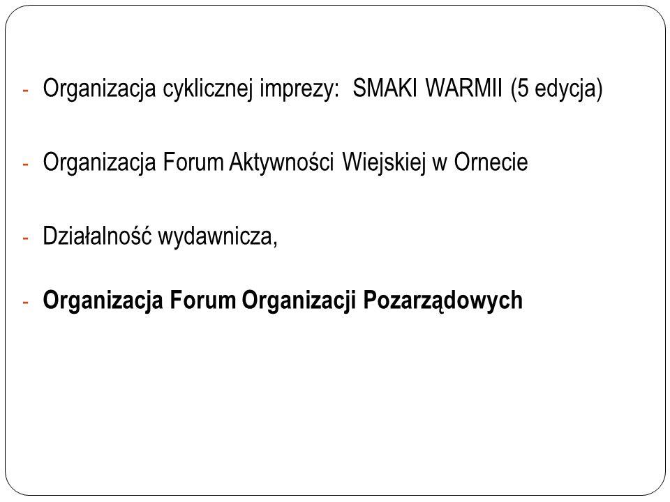 - Organizacja cyklicznej imprezy: SMAKI WARMII (5 edycja) - Organizacja Forum Aktywności Wiejskiej w Ornecie - Działalność wydawnicza, - Organizacja F