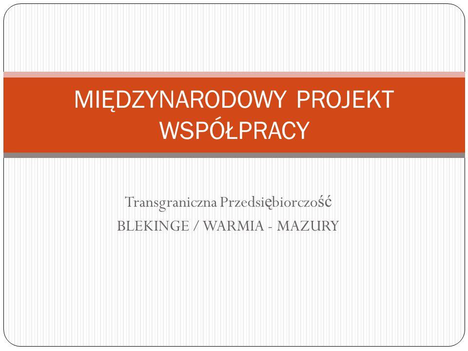 Transgraniczna Przedsi ę biorczo ść BLEKINGE / WARMIA - MAZURY MIĘDZYNARODOWY PROJEKT WSPÓŁPRACY