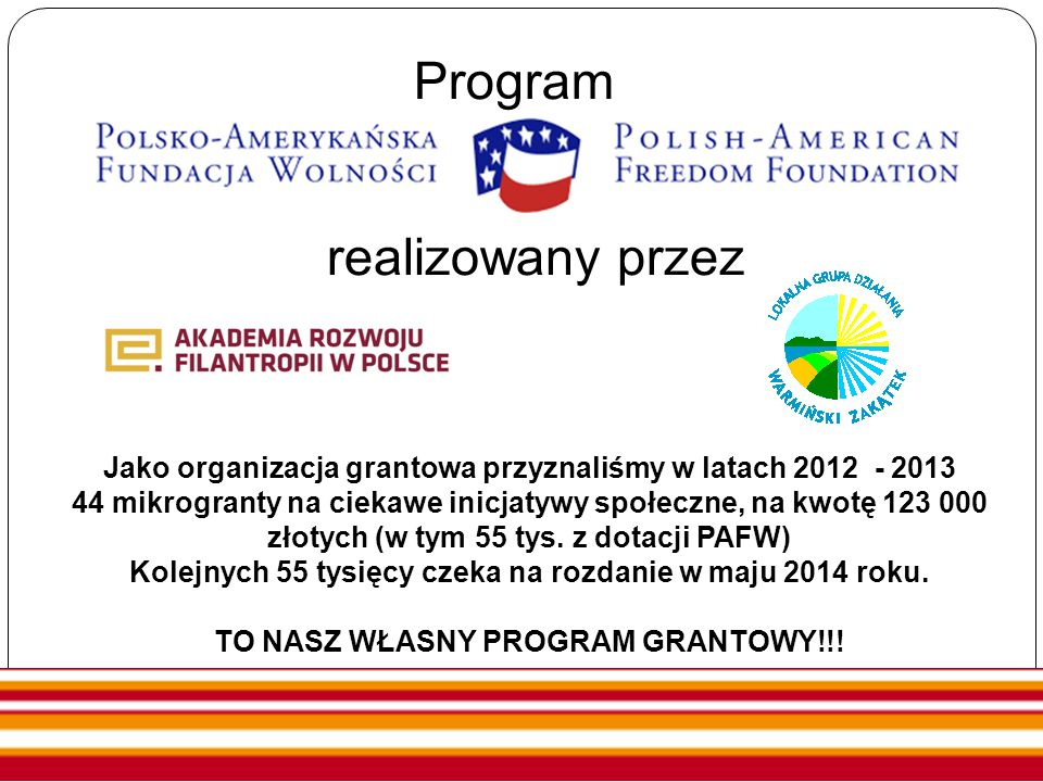 Program realizowany przez Jako organizacja grantowa przyznaliśmy w latach 2012 - 2013 44 mikrogranty na ciekawe inicjatywy społeczne, na kwotę 123 000