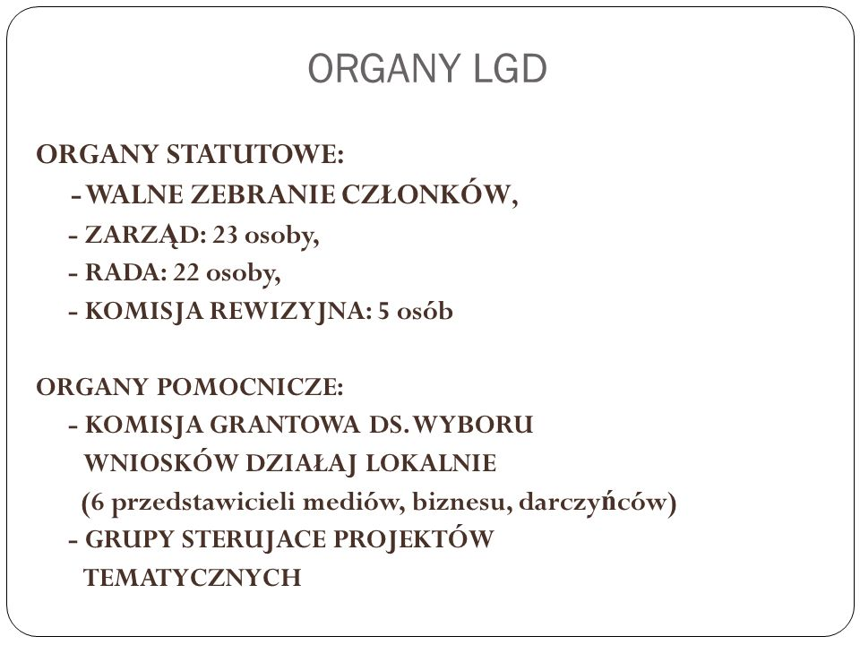 ZARZĄD LGD Statystyka: - 8 posiedze ń Zarz ą du, - Podj ę to 22 uchwały, zaj ę to 6 stanowisk, - ś rednia frekwencja: 68,48 %.