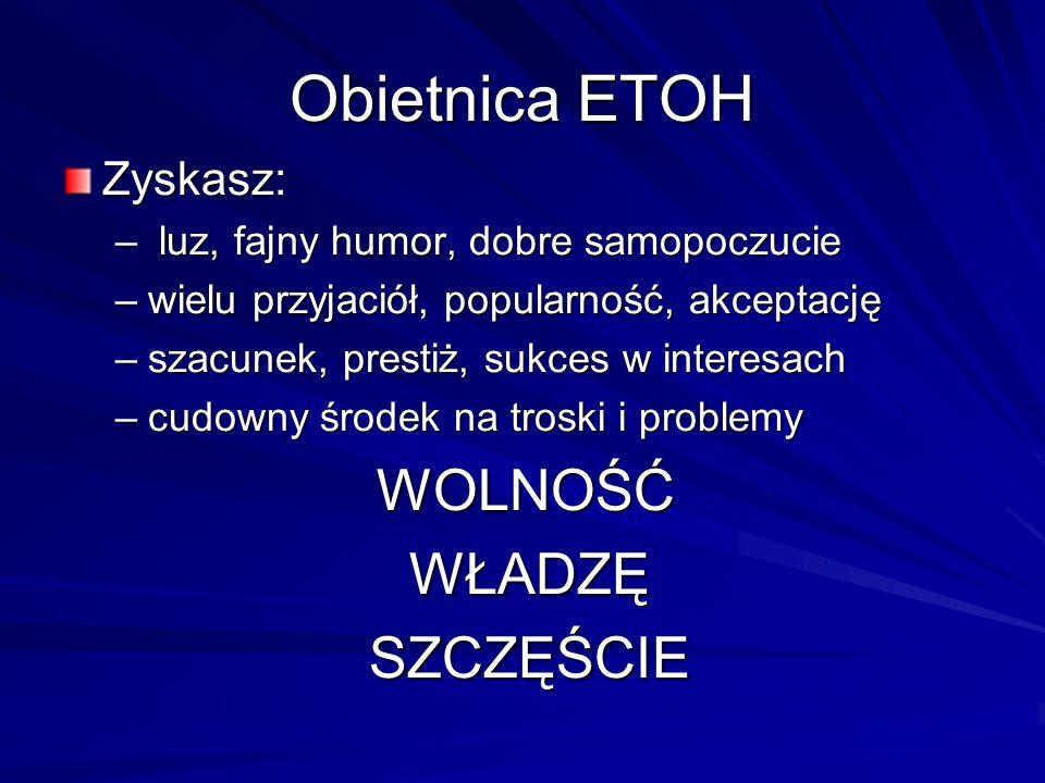Obietnica ETOH Zyskasz: – luz, fajny humor, dobre samopoczucie –wielu przyjaciół, popularność, akceptację –szacunek, prestiż, sukces w interesach –cud