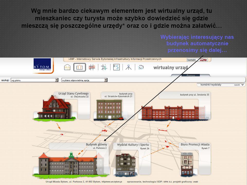 Wg mnie bardzo ciekawym elementem jest wirtualny urząd, tu mieszkaniec czy turysta może szybko dowiedzieć się gdzie mieszczą się poszczególne urzędy* oraz co i gdzie można załatwić… Wybierając interesujący nas budynek automatycznie przenosimy się dalej…