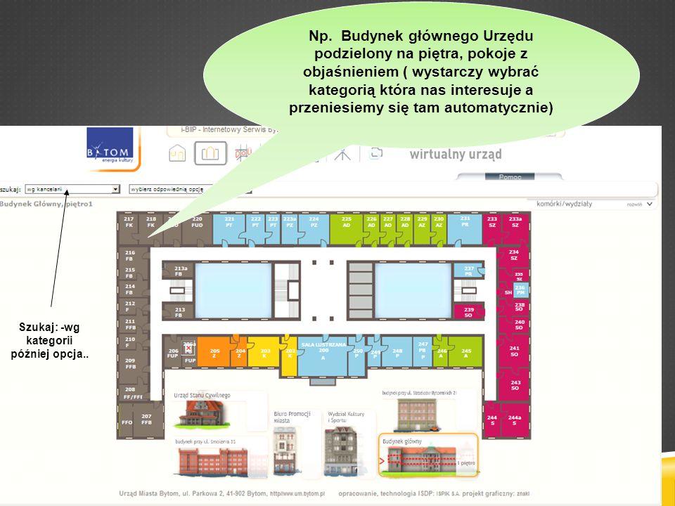 Np. Budynek głównego Urzędu podzielony na piętra, pokoje z objaśnieniem ( wystarczy wybrać kategorią która nas interesuje a przeniesiemy się tam autom