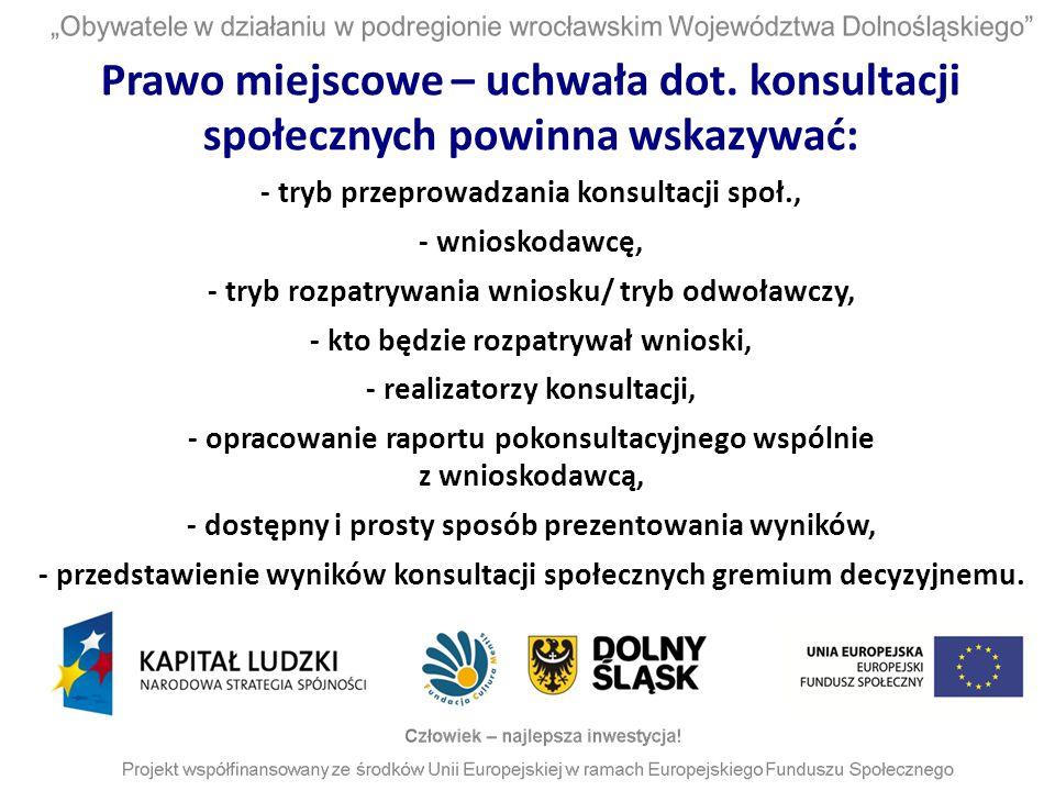 Prawo miejscowe – uchwała dot. konsultacji społecznych powinna wskazywać: - tryb przeprowadzania konsultacji społ., - wnioskodawcę, - tryb rozpatrywan