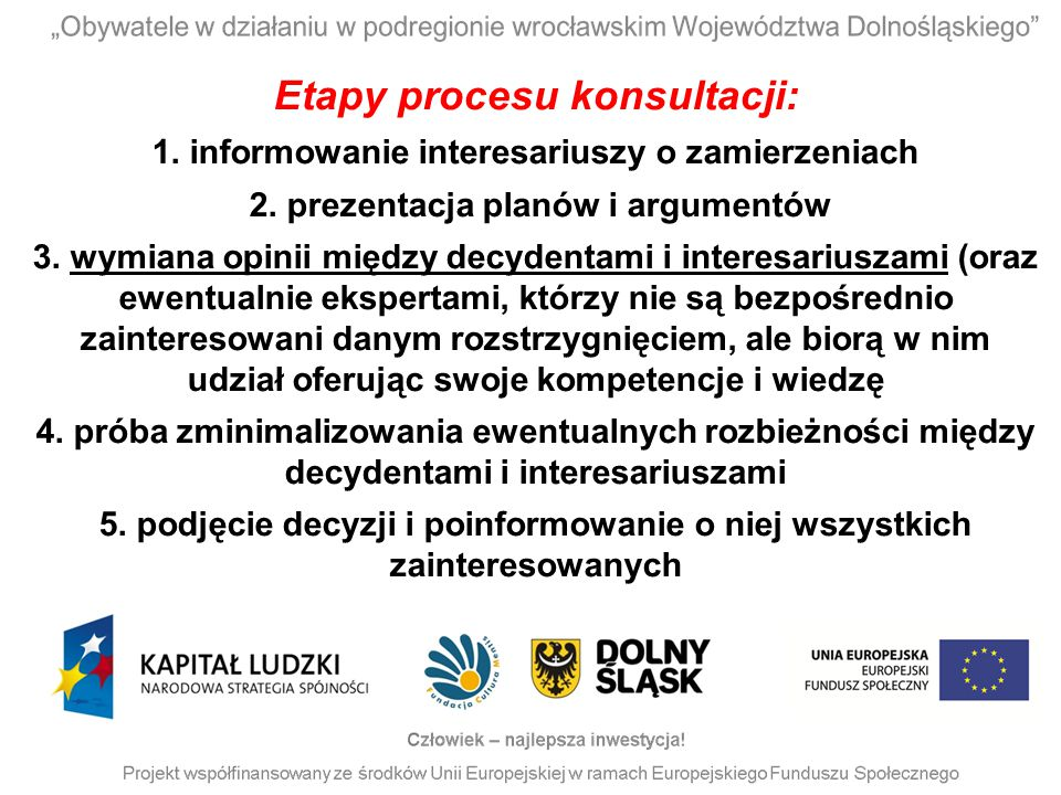 Etapy procesu konsultacji: 1. informowanie interesariuszy o zamierzeniach 2. prezentacja planów i argumentów 3. wymiana opinii między decydentami i in