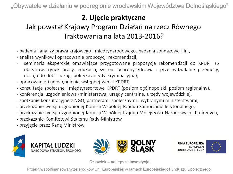 2. Ujęcie praktyczne Jak powstał Krajowy Program Działań na rzecz Równego Traktowania na lata 2013-2016? - badania i analizy prawa krajowego i międzyn