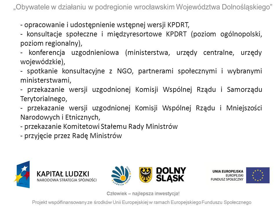 - opracowanie i udostępnienie wstępnej wersji KPDRT, - konsultacje społeczne i międzyresortowe KPDRT (poziom ogólnopolski, poziom regionalny), - konfe