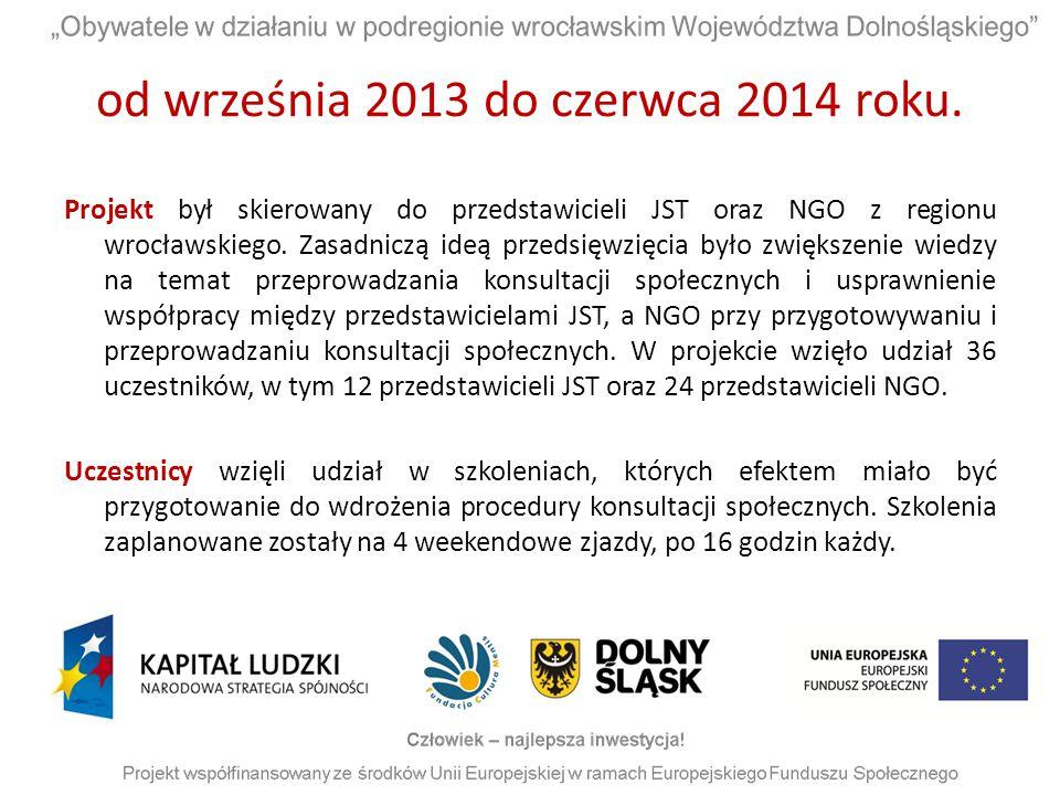 od września 2013 do czerwca 2014 roku. Projekt był skierowany do przedstawicieli JST oraz NGO z regionu wrocławskiego. Zasadniczą ideą przedsięwzięcia