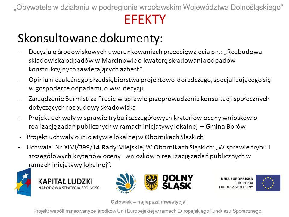 """EFEKTY Skonsultowane dokumenty: -Decyzja o środowiskowych uwarunkowaniach przedsięwzięcia pn.: """"Rozbudowa składowiska odpadów w Marcinowie o kwaterę s"""