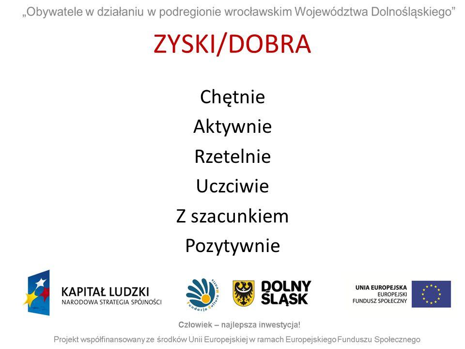ZYSKI/DOBRA Chętnie Aktywnie Rzetelnie Uczciwie Z szacunkiem Pozytywnie