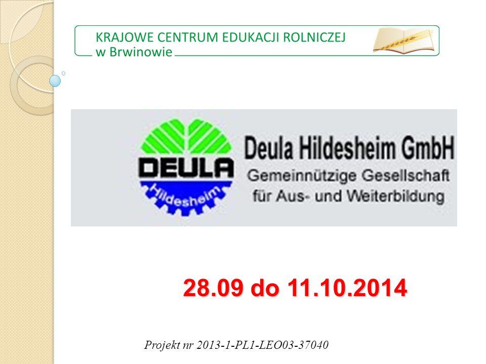 Projekt nr 2013-1-PL1-LEO03-37040 28.09 do 11.10.2014