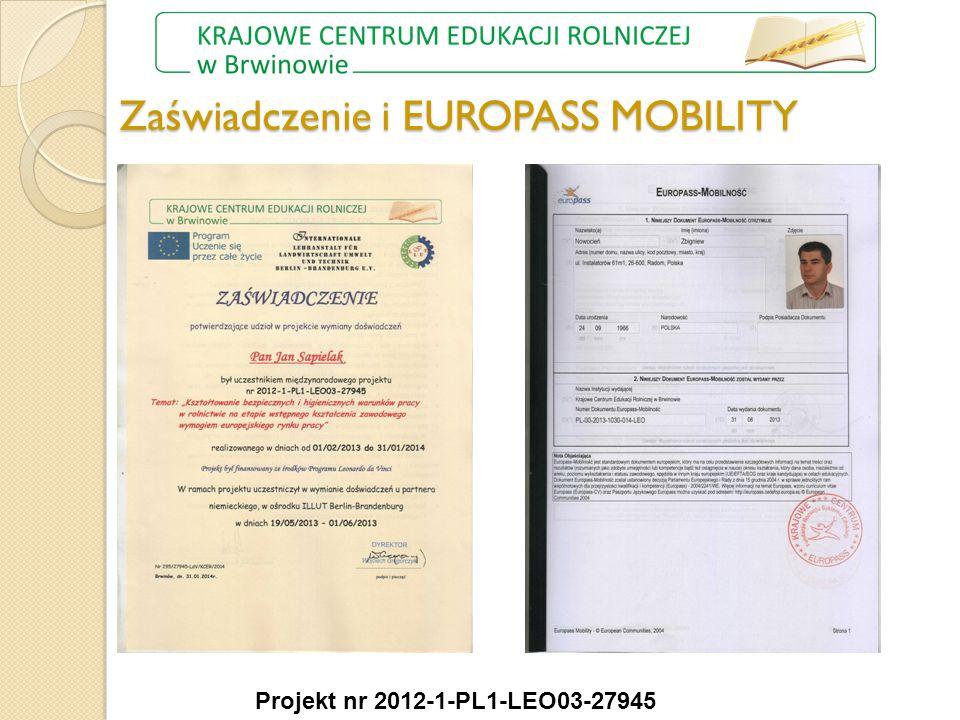 Zaświadczenie i EUROPASS MOBILITY Projekt nr 2012-1-PL1-LEO03-27945