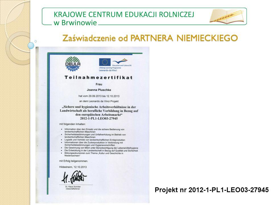Zaświadczenie od PARTNERA NIEMIECKIEGO Projekt nr 2012-1-PL1-LEO03-27945