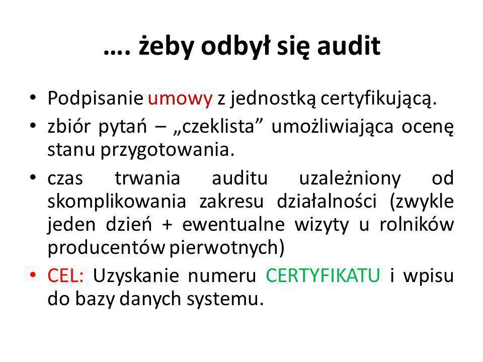 """…. żeby odbył się audit Podpisanie umowy z jednostką certyfikującą. zbiór pytań – """"czeklista"""" umożliwiająca ocenę stanu przygotowania. czas trwania au"""