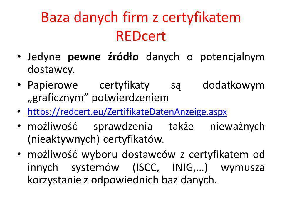 """Baza danych firm z certyfikatem REDcert Jedyne pewne źródło danych o potencjalnym dostawcy. Papierowe certyfikaty są dodatkowym """"graficznym"""" potwierdz"""