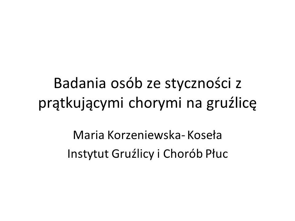 Badania osób ze styczności z prątkującymi chorymi na gruźlicę Maria Korzeniewska- Koseła Instytut Gruźlicy i Chorób Płuc