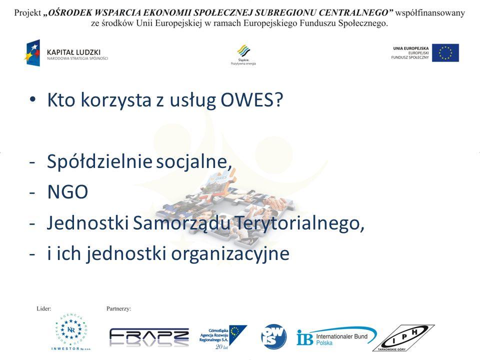 Kto korzysta z usług OWES? -Spółdzielnie socjalne, -NGO -Jednostki Samorządu Terytorialnego, -i ich jednostki organizacyjne
