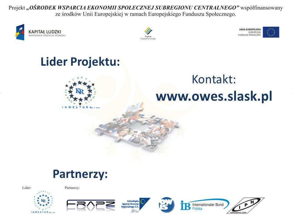 Kontakt: www.owes.slask.pl Lider Projektu: Partnerzy: