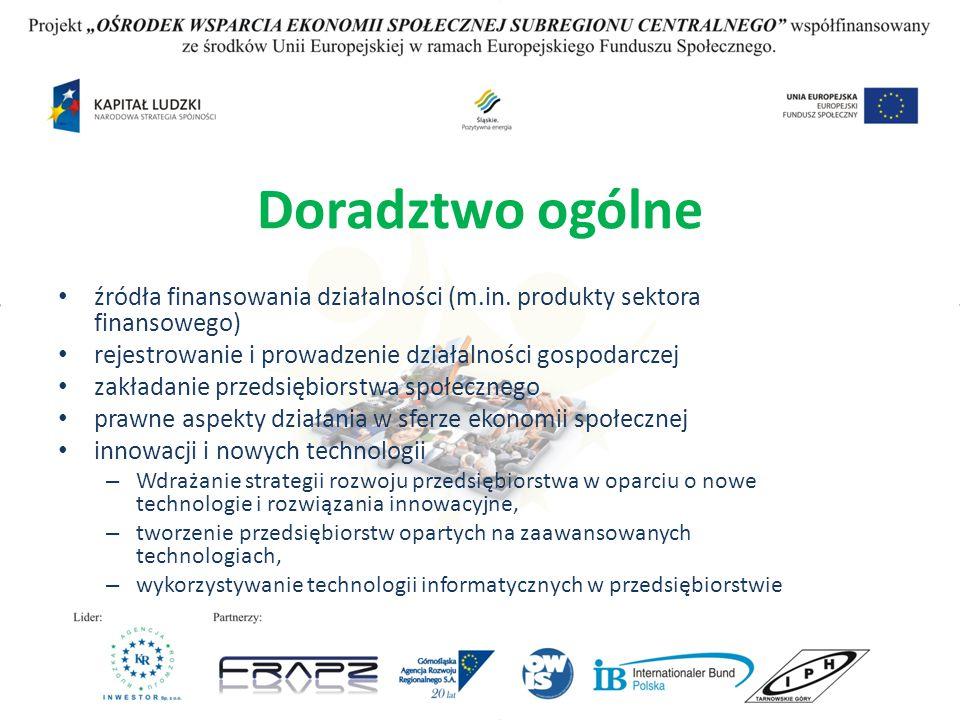 Doradztwo ogólne źródła finansowania działalności (m.in. produkty sektora finansowego) rejestrowanie i prowadzenie działalności gospodarczej zakładani