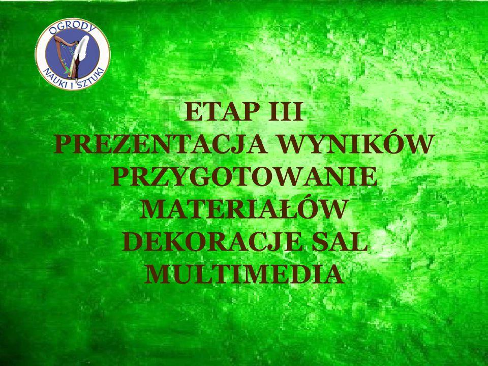 ETAP III PREZENTACJA WYNIKÓW PRZYGOTOWANIE MATERIAŁÓW DEKORACJE SAL MULTIMEDIA
