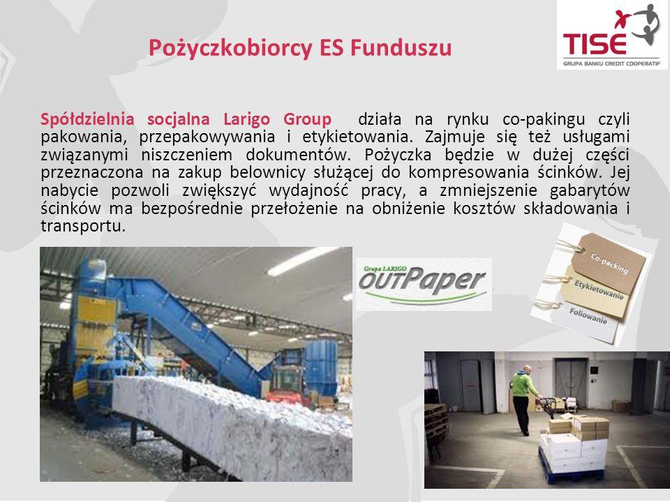 Pożyczkobiorcy ES Funduszu Spółdzielnia socjalna Larigo Group działa na rynku co-pakingu czyli pakowania, przepakowywania i etykietowania. Zajmuje się