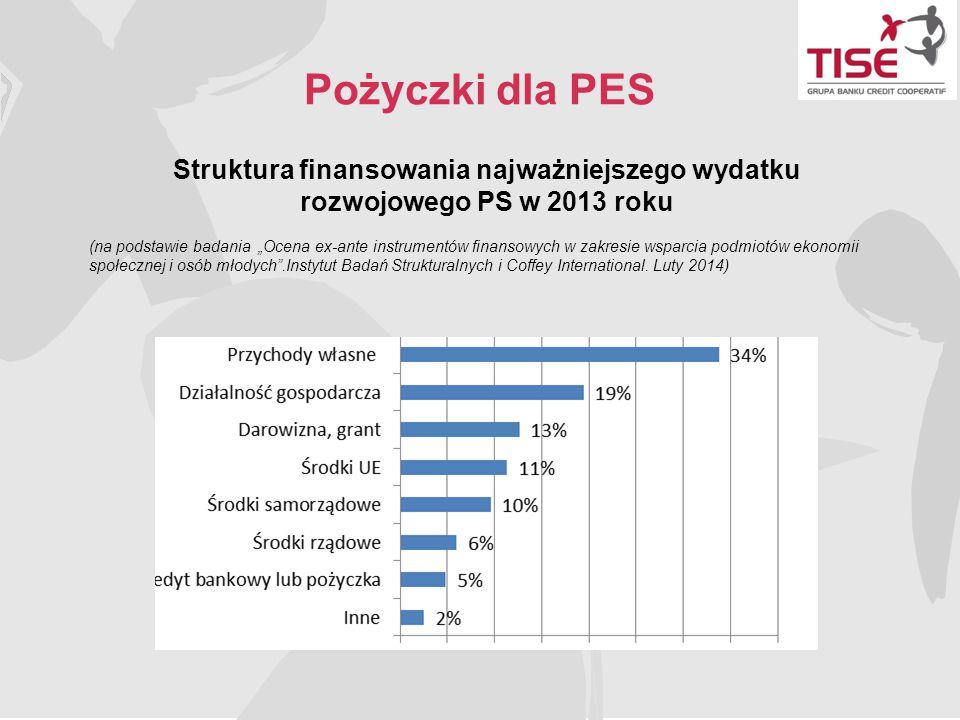 """Pożyczki dla PES Struktura finansowania najważniejszego wydatku rozwojowego PS w 2013 roku (na podstawie badania """"Ocena ex-ante instrumentów finansowy"""