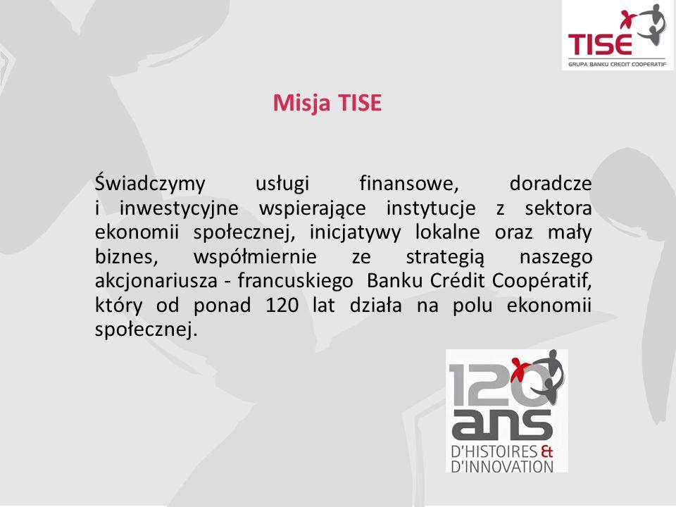 Misja TISE Świadczymy usługi finansowe, doradcze i inwestycyjne wspierające instytucje z sektora ekonomii społecznej, inicjatywy lokalne oraz mały biz