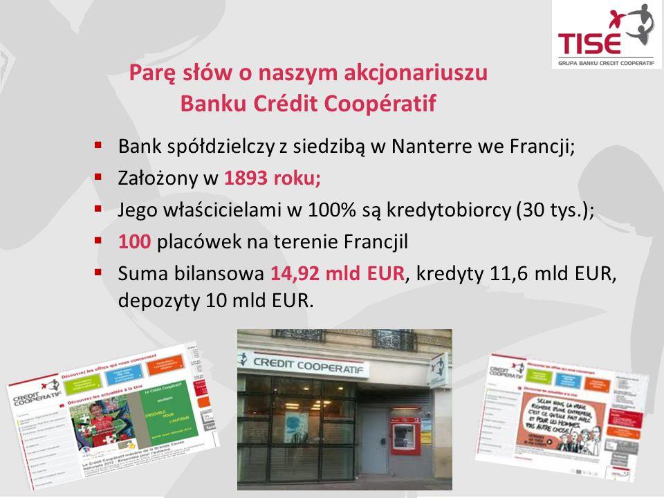 Parę słów o naszym akcjonariuszu Banku Crédit Coopératif  Bank spółdzielczy z siedzibą w Nanterre we Francji;  Założony w 1893 roku;  Jego właścici