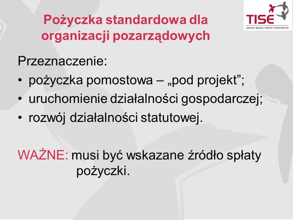 """Pożyczka standardowa dla organizacji pozarządowych Przeznaczenie: pożyczka pomostowa – """"pod projekt""""; uruchomienie działalności gospodarczej; rozwój d"""