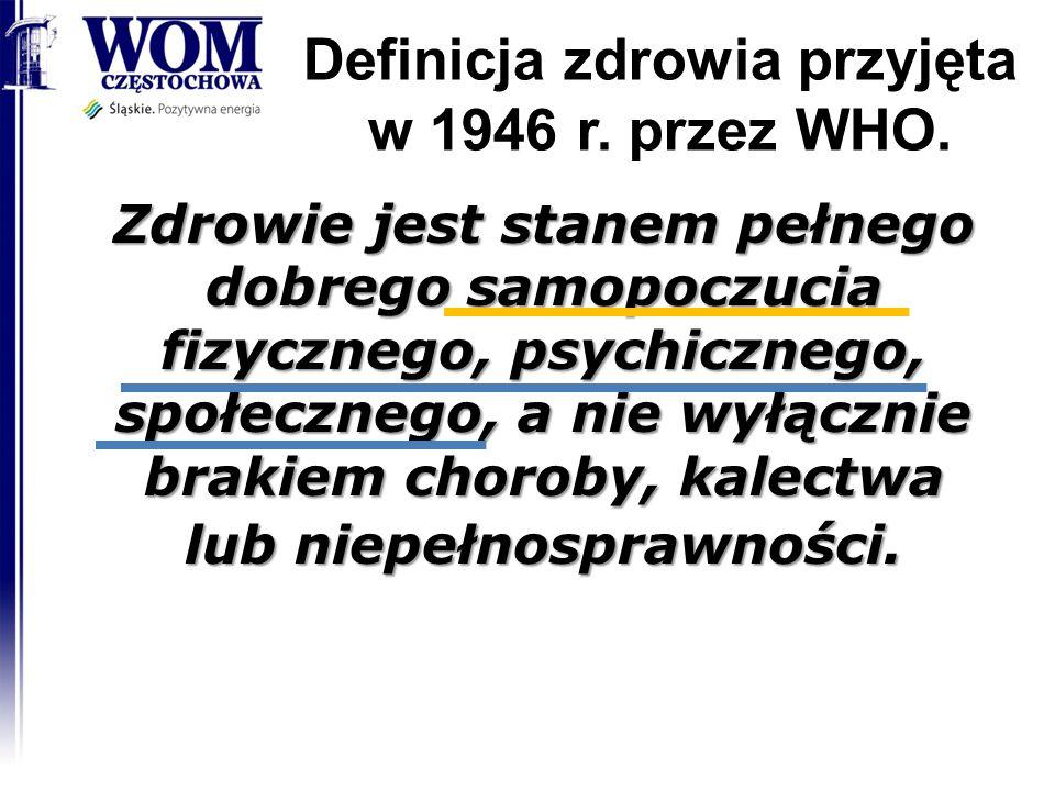 Definicja zdrowia przyjęta w 1946 r. przez WHO. 2014-08-20 RODN