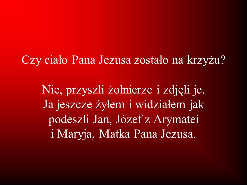 Czy ciało Pana Jezusa zostało na krzyżu? Nie, przyszli żołnierze i zdjęli je. Ja jeszcze żyłem i widziałem jak podeszli Jan, Józef z Arymatei i Maryja