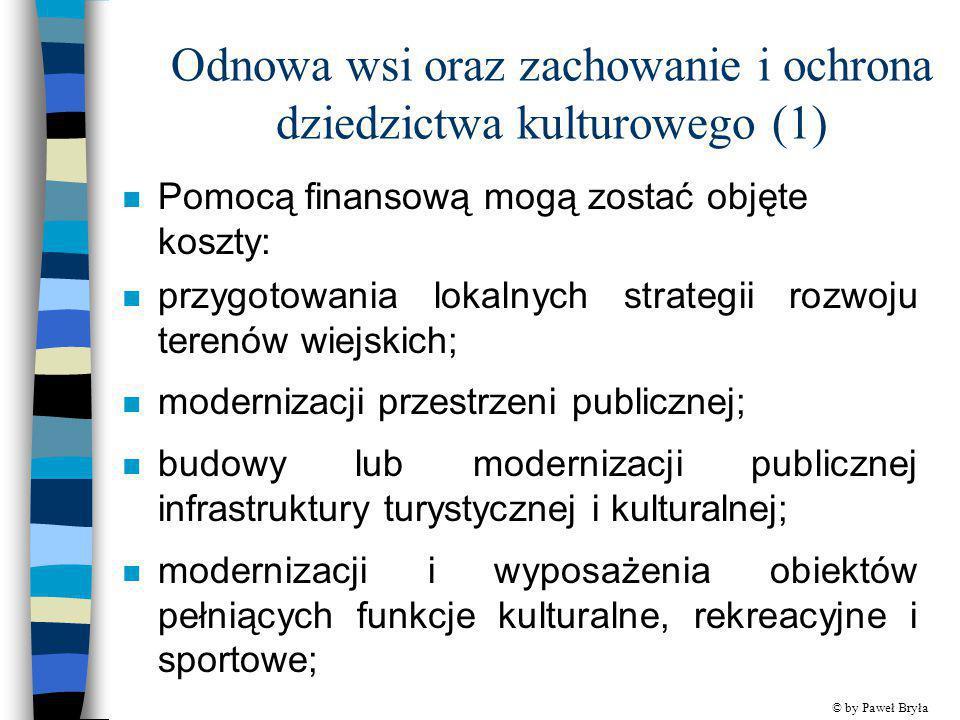 Odnowa wsi oraz zachowanie i ochrona dziedzictwa kulturowego (1) n Pomocą finansową mogą zostać objęte koszty: n przygotowania lokalnych strategii roz