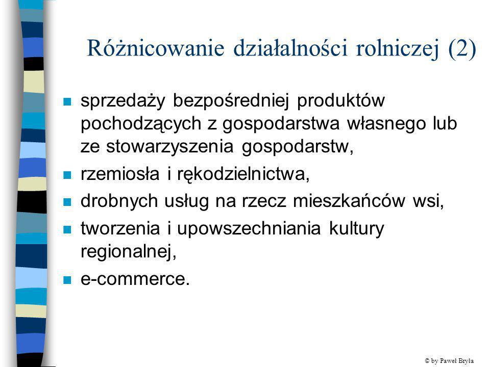 Różnicowanie działalności rolniczej (2) n sprzedaży bezpośredniej produktów pochodzących z gospodarstwa własnego lub ze stowarzyszenia gospodarstw, n