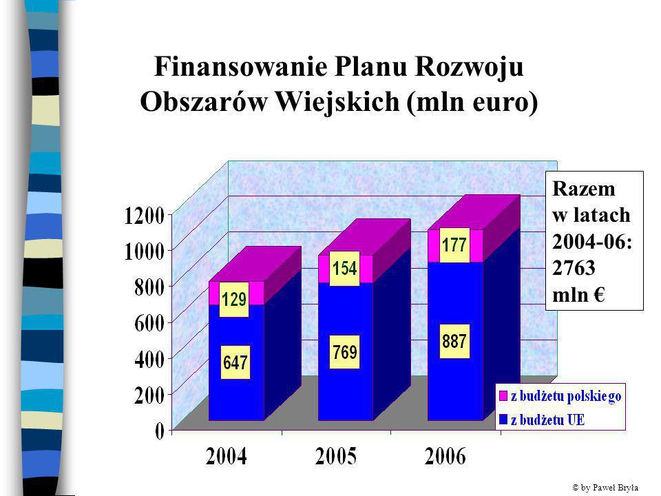 Finansowanie Planu Rozwoju Obszarów Wiejskich (mln euro) Razem w latach 2004-06: 2763 mln € © by Paweł Bryła