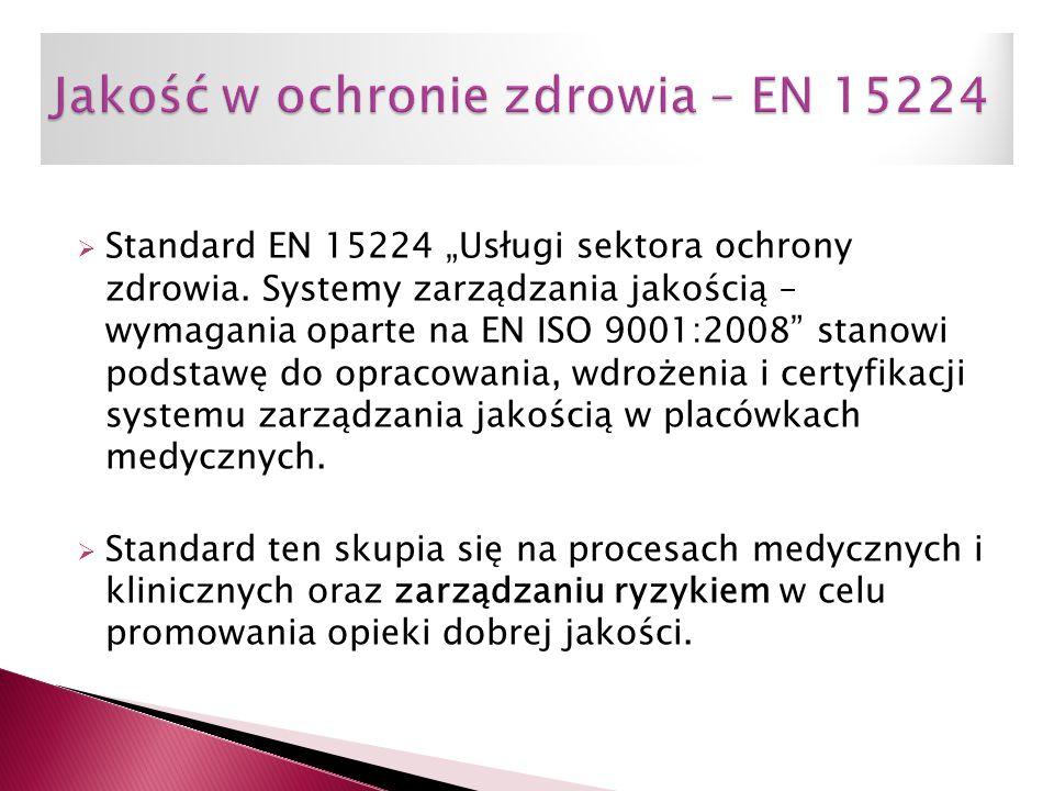 """ Standard EN 15224 """"Usługi sektora ochrony zdrowia. Systemy zarządzania jakością – wymagania oparte na EN ISO 9001:2008"""" stanowi podstawę do opracowa"""