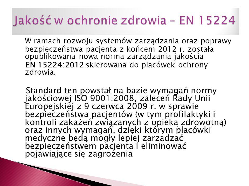 W ramach rozwoju systemów zarządzania oraz poprawy bezpieczeństwa pacjenta z końcem 2012 r. została opublikowana nowa norma zarządzania jakością EN 15