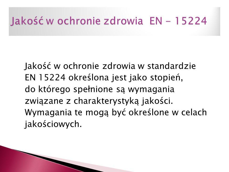 Jakość w ochronie zdrowia w standardzie EN 15224 określona jest jako stopień, do którego spełnione są wymagania związane z charakterystyką jakości. Wy