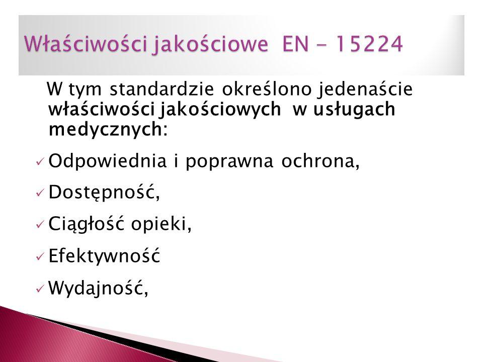 W tym standardzie określono jedenaście właściwości jakościowych w usługach medycznych: Odpowiednia i poprawna ochrona, Dostępność, Ciągłość opieki, Ef