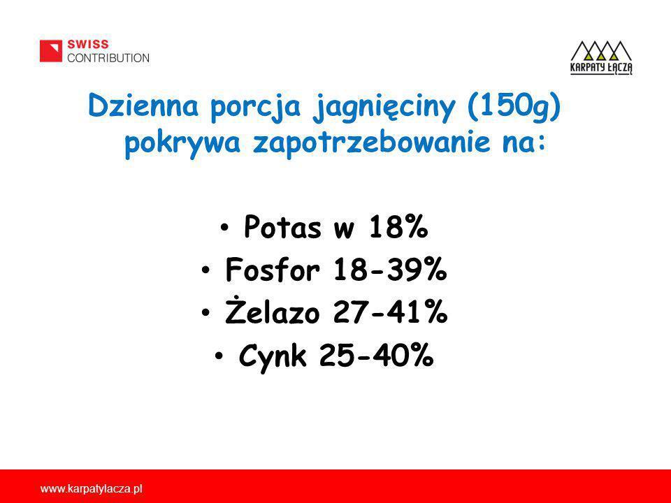 www.karpatylacza.pl Dzienna porcja jagnięciny (150g) pokrywa zapotrzebowanie na: Potas w 18% Fosfor 18-39% Żelazo 27-41% Cynk 25-40%