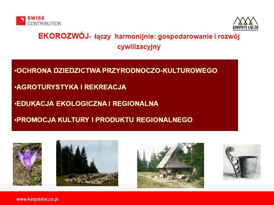 www.karpatylacza.pl OCHRONA DZIEDZICTWA PRZYRODNOCZO-KULTUROWEGO AGROTURYSTYKA I REKREACJA EDUKACJA EKOLOGICZNA I REGIONALNA PROMOCJA KULTURY I PRODUKTU REGIONALNEGO EKOROZWÓJ - łączy harmonijnie: gospodarowanie i rozwój cywilizacyjny