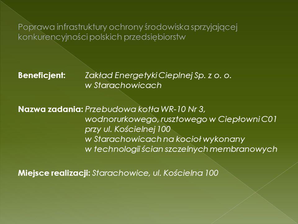 Beneficjent: Zakład Energetyki Cieplnej Sp. z o. o. w Starachowicach Nazwa zadania: Przebudowa kotła WR-10 Nr 3, wodnorurkowego, rusztowego w Ciepłown