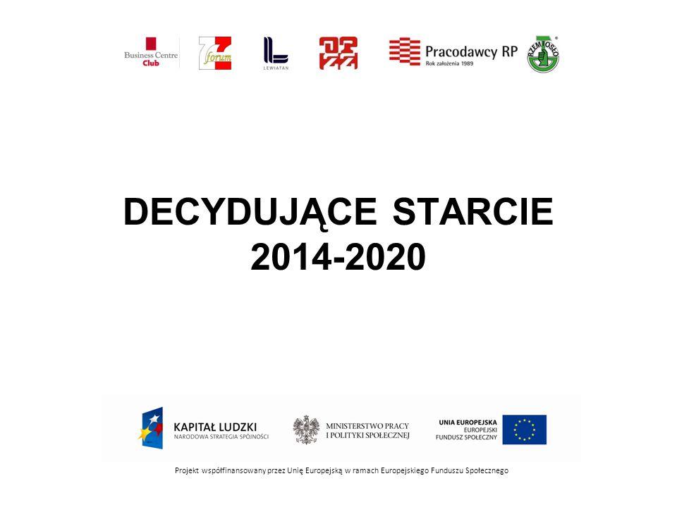 DECYDUJĄCE STARCIE 2014-2020 Projekt współfinansowany przez Unię Europejską w ramach Europejskiego Funduszu Społecznego