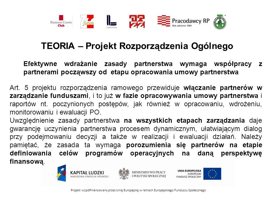 TEORIA – Projekt Rozporządzenia Ogólnego Efektywne wdrażanie zasady partnerstwa wymaga współpracy z partnerami począwszy od etapu opracowania umowy partnerstwa Art.