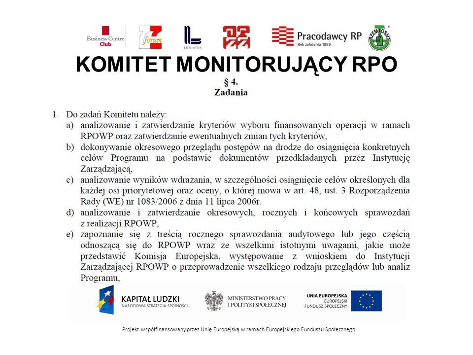 KOMITET MONITORUJĄCY RPO Projekt współfinansowany przez Unię Europejską w ramach Europejskiego Funduszu Społecznego