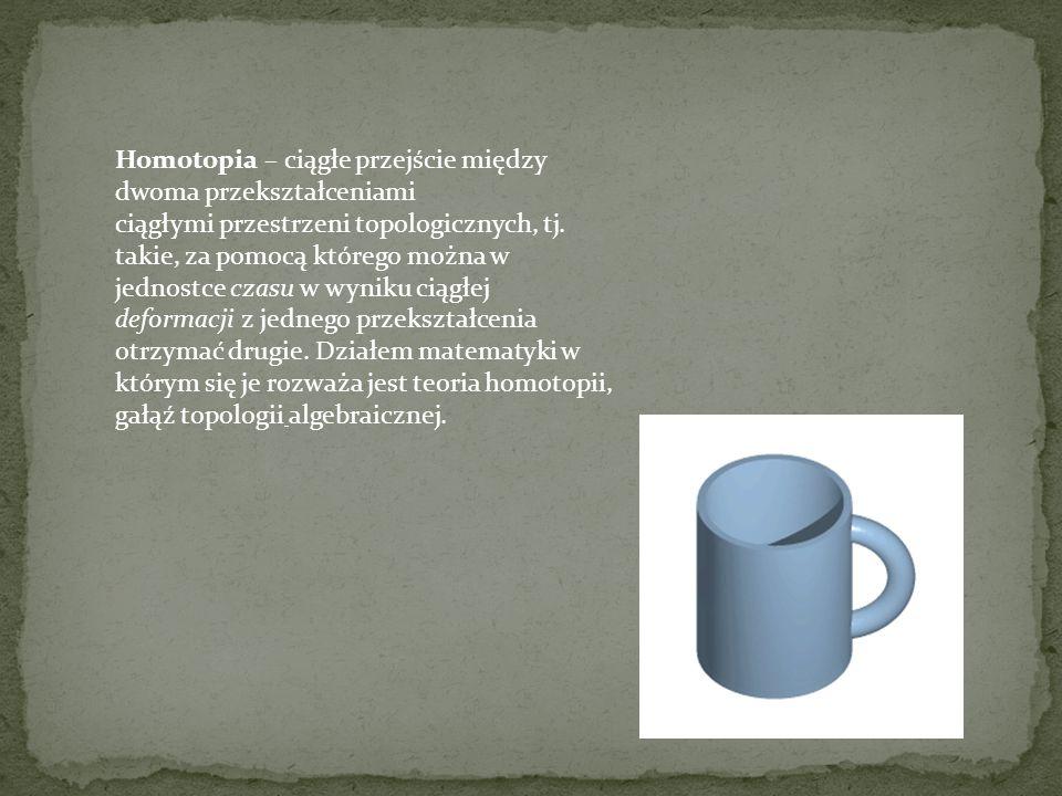 Homotopia – ciągłe przejście między dwoma przekształceniami ciągłymi przestrzeni topologicznych, tj. takie, za pomocą którego można w jednostce czasu